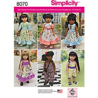 Simplicity Craft Doll Clothing Sewing Pattern, 8070, OS