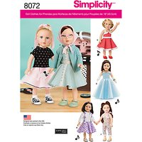 Simplicity Craft Doll Outfits Sewing Pattern, 8072, OS