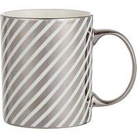John Lewis Stripe Mug, Silver / White