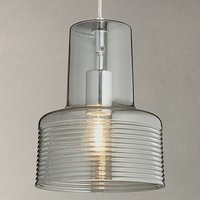 John Lewis Damon Ribbed Glass Pendant Light, Smoke