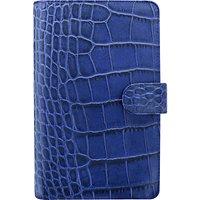 Filofax Classic Croc-Effect Personal Compact Organiser, Blue