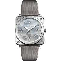 bell and ross brscamost unisex date satin strap watch, grey/camouflage mother of pearl