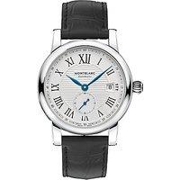 Montblanc 111881 Mens Star Date Alligator Leather Strap Watch, Black/White