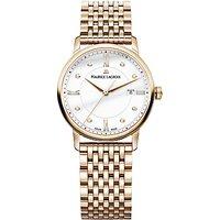 Maurice Lacroix EL1094-PVP06-150-1 Women's Eliros Diamond Date Bracelet Strap Watch, Rose Gold/White