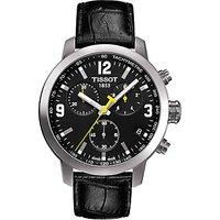 Tissot T0554171605700 Mens PRC 200 Chronograph Date Leather Strap Watch, Black