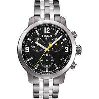 Tissot T0554171105700 Men's PRC 200 Chronograph Date Bracelet Strap Watch, Silver/Black