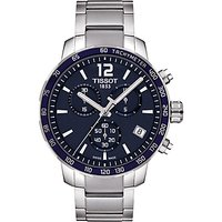 Tissot T0954171104700 Mens Quickster Chronograph Date Bracelet Strap Watch, Silver/Navy