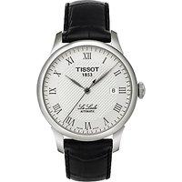 Tissot T41142333 Men's Le Locle Date Leather Strap Watch, Black/Silver