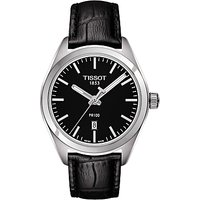 Tissot T1012101605100 Women's PR 100 Date Leather Strap Watch, Black