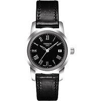 Tissot T0332101605300 Womens Classic Dream Date Leather Strap Watch, Black