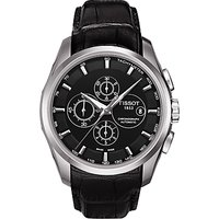 Tissot T0356271605100 Mens Couturier Chronograph Date Leather Strap Watch, Black