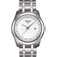 Tissot T1014101103100 Mens Couturier Date Bracelet Strap Watch, Silver/White