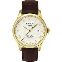 Tissot T41541373 Men's Le Locle Date Leather Strap Watch, Brown/Silver
