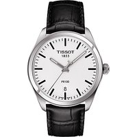 Tissot T1014101603100 Mens PR 100 Date Leather Strap Watch, Black/White