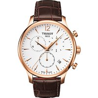 Tissot T0636173603700 Mens Tradition Chronograph Date Leather Strap Watch, Brown/White
