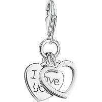 Thomas Sabo Charm Club I Love You Double Heart Charm, Silver