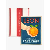 LEON Tea Towels, Orange, Set of 2