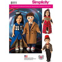 Simplicity Craft Doctor Who Doll Costumes Sewing Pattern, 8111