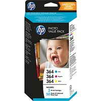 HP 364 Photo Value Pack With Cyan, Yellow & Magenta Ink Cartridges And 50 Sheets Of Photo Paper