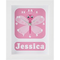 Stripey Cats Personalised Betty Butterfly Framed Clock, 23 x 18cm