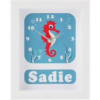 Stripey Cats Personalised Selma Seahorse Framed Clock, 23 x 18cm