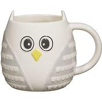 John Lewis 3D Owl Mug, Grey / White
