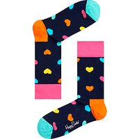 Happy Socks Heart Socks, One Size, Navy/Multi