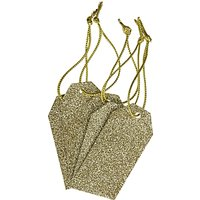 John Lewis & Partners Glitter Gift Tags, Pack of 5, Gold