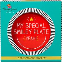 Happy Jackson Smiley Melamine Dinner Set, Set of 3