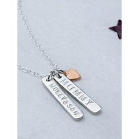 Chambers & Beau Personalised Double Skinny Bar and Heart Necklace