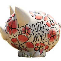 Gallery Thea Personalised Coral Pansy and Summer Flowers Piggy Bank
