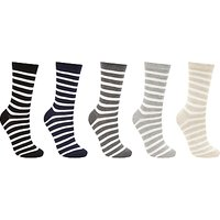 John Lewis Stripe Cotton Blend Ankle Socks, Pack of 5, Multi