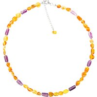 Goldmajor Sterling Silver Amber and Amethyst Collar Necklace, Silver/Amber