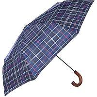 Barbour Tartan Telescopic Umbrella, Navy