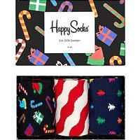 Happy Socks Christmas Socks, One Size, Pack of 3, Multi
