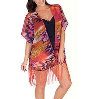 Chesca Animal Print Kimono, Pink/Purple