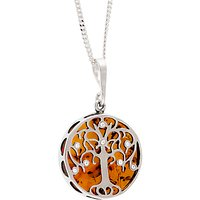 Be-Jewelled Sterling Silver Amber Tree of Life Round Pendant Necklace, Silver/Orange