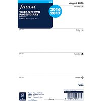 Filofax Week On 2 Pages Mid Year 2016/2017 Diary Inserts, A5