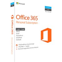 Microsoft Office 365 Personal, 1 PC & 1 Tablet, 1 User, One-Year Subscription