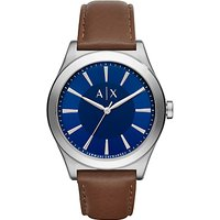 Armani Exchange AX2324 Mens Leather Strap Watch, Dark Brown/Blue