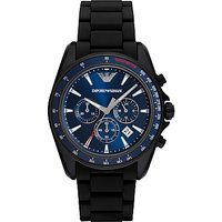 Emporio Armani AR6121 Mens Chronograph Date Silicone Strap Watch, Black/Blue