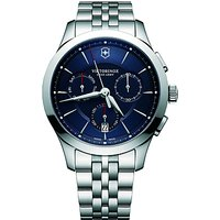 Victorinox 241746 Mens Alliance Chronograph Day Date Bracelet Strap Watch, Silver/Blue