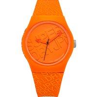 superdry syg169o unisex urban silicone strap watch, orange
