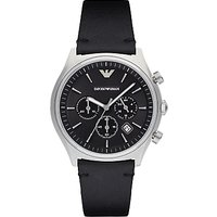 Emporio Armani AR1975 Mens Chronograph Date Leather Strap Watch, Black