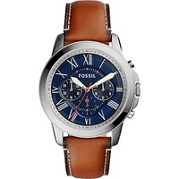 Fossil Mens Grant Chronograph Leather Strap Watch