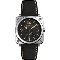 bell and ross brsherist/sca unisex brs heritage date leather strap watch, black