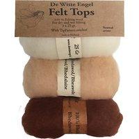 De Witte Engel Needle Felting Wool Pack of 3, Brown