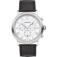 Montblanc 114339 Mens Tradition Chronograph Alligator Leather Strap Watch, Black/White