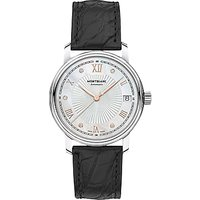 Montblanc 114957 Womens Tradition Diamond Date Alligator Leather Strap Watch, Black/White