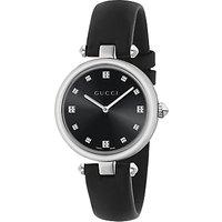 Gucci YA141403 Womens Diamantissima Leather Strap Watch, Black